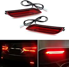 GTINTHEBOX 3D Optic LED Rear Bumper Reflectors Brake Tail Lights and Sequential Turn Signal Lamps for 2018 2019 Toyota Camry - Red Lens
