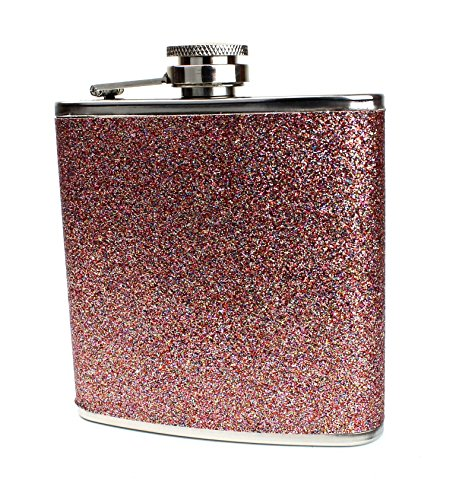 Glitter and Stainless Steel Hip Flask - Stores 6 Ounces (Rose Gold)