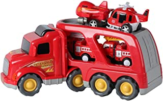 Build Me Fire Truck Rescue and Emergency Transport Vehicle with Helicopter, Airplane and 2 Fire Engines - Lights Up, Plays Music, Makes Sounds. - Firetrucks Toys for Kids 3+