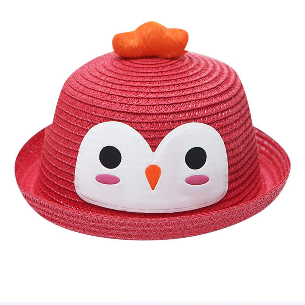 Baby Girl Boy Cartoon Sunscreen Straw Hat Beach Hat Small Hat Visor Hat Circumference//20.5,Height//3.1,2-6 Years Old White