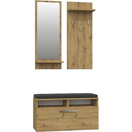 ADGO Riva Ensemble de meubles de couloir 3 en 1 avec armoire, miroir, cintres et armoire à chaussures, penderie, vestiaire compact pour votre entrée (kit de couloirs, chêne artisan)