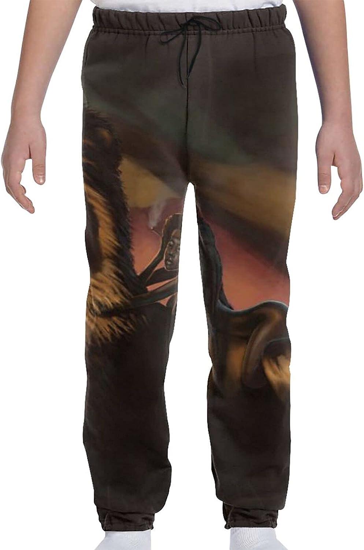 AMRANDOM Lightweight 3D Print Sweatpants with Elastic Waist and