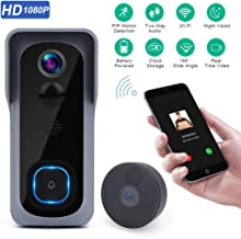 Wsdcam Doorbell Camera Wi-Fi with Motion Detector, Night Vision, 166° Wide Angle, Two-Way Audio, Waterproof 1080P HD Video Doorbell for Home Apartments with Phone Apps
