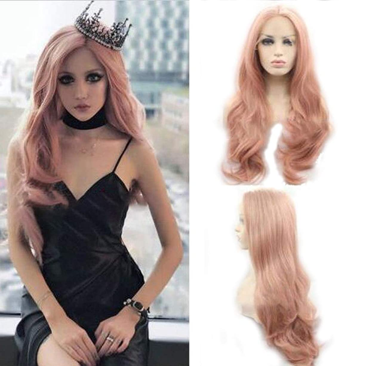 ATZWIGファッション合成レースフロントかつら長い自然な波状耐熱繊維髪かつら女性用ピンク色22インチ