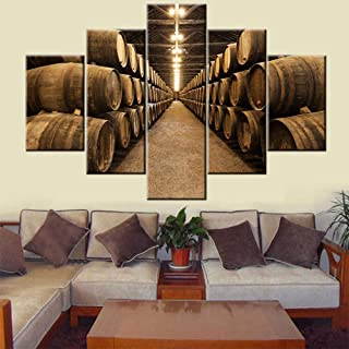 5 Panel Wall Art Wooden Barrels in the Wine Cellar Pictures for Living Room Brown Canvas Paintings Premium Quality Artwork Bedroom Home Decor Framed Ready to Hang Posters and Prints(60''Wx40''H)