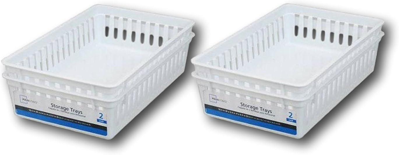 Set of 3 Plastic Baskets For Kitchen Home White Rectangular Box Storage Boxes Office /& Bathroom