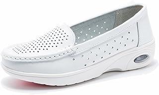 Moonwalker Women's Leather Health Care Slip-On Loafers Nurse Shoes (4 D(M) US,White1)