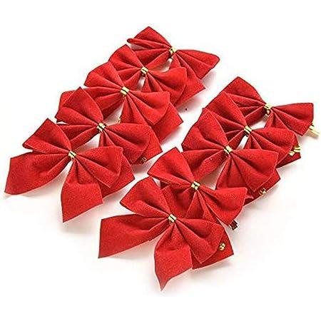Dizie 48pcs Arc de No/ël Ruban Noeud Papillon pour Sapin de No/ël Guirlande de No/ël Cadeau D/écoration Au Hasard