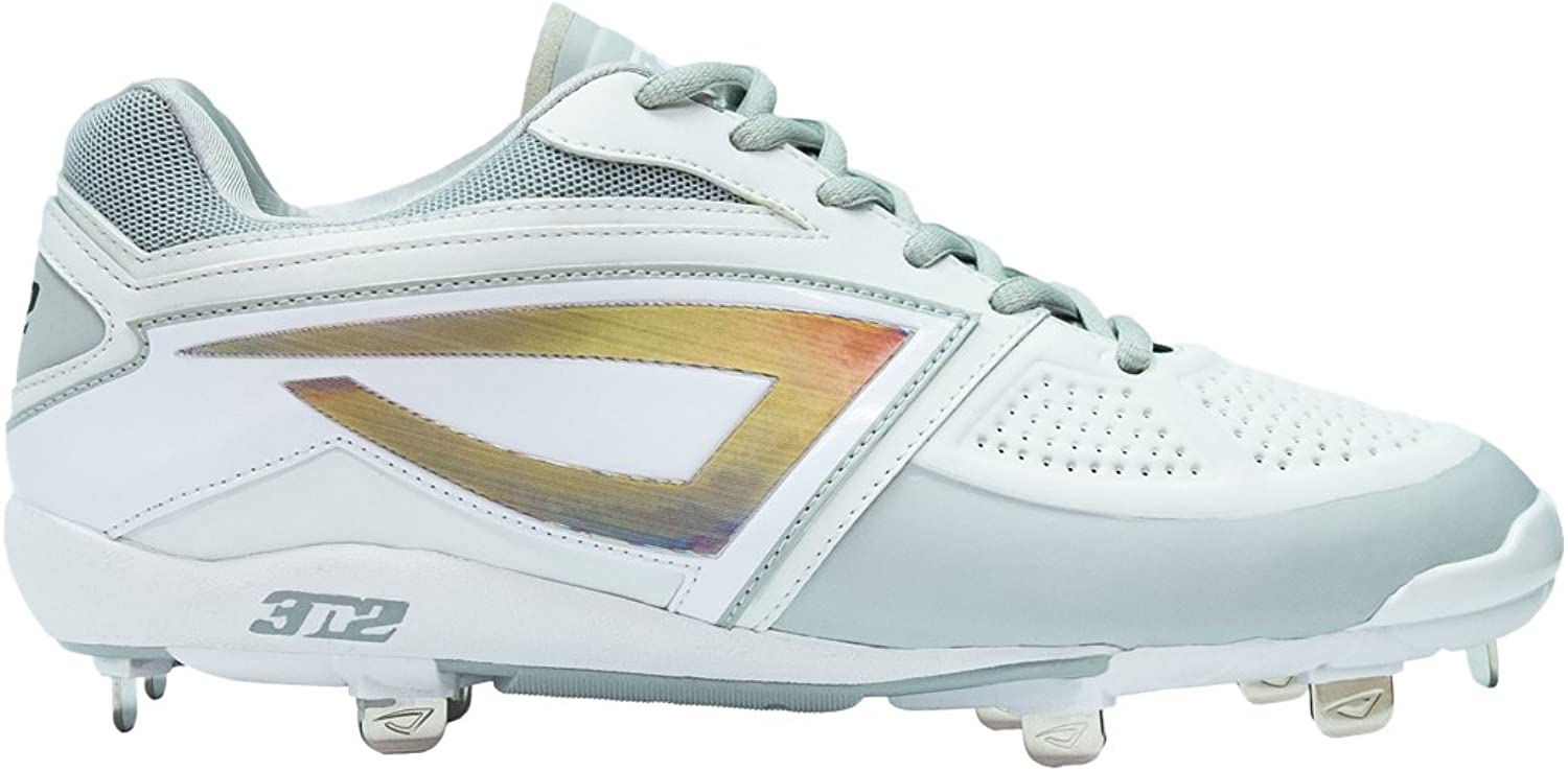 3N2 Women's Dom-N-8 Metal Cleat, White, Size 7.5