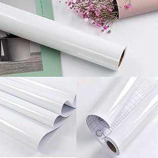 Papel Adhesivo para Muebles Blanco 40cm X 3m Vinilo Pegatina Autoadhesivo Decoración De La Pared Gabinetes De Cocina Escritorio Cajón DIY Pegatina
