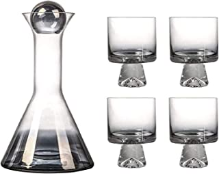 Decanter Set Whiskey Decanter Wine Decanter Wine Decanter Set, Stopper And 4 Creative Glasses Included, Smokey Sparkling D...