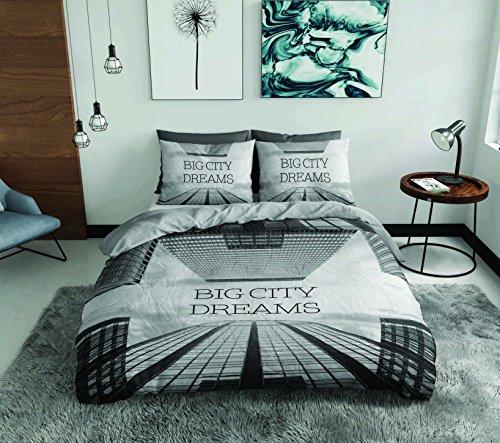 SASA CRAZE Bedding 100% Cotton Panel Printed Duvet Cover Set with 2 Pillowcases Grey, King- Big City Big Dreams