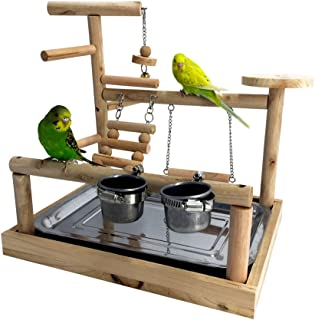 Borangs Parrots Playstand Bird Playground Wood Perch Training Stand Cockatiel Playpen Ladders Birds Swing Wood Gym Tabletop with Feeder Cups Toys Exercise Play