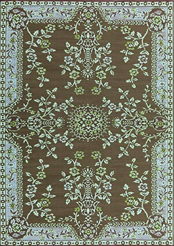 Mad Mats Garland Indoor Outdoor Floor Mat, 4 by 6-Feet, Teal Brown
