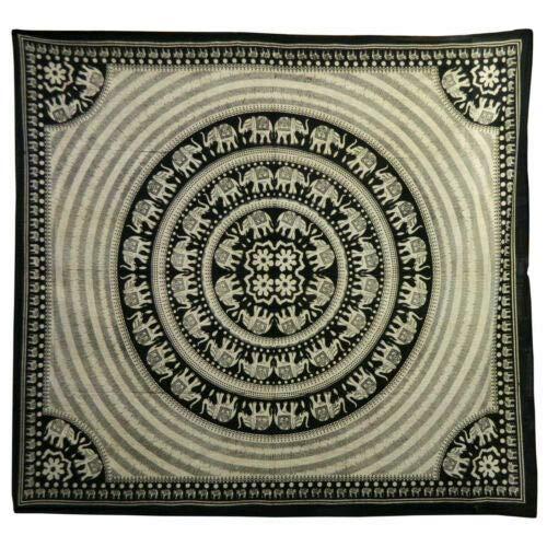 IB Couverture Indienne Tenture Eléphants Noir Blanc cassé 230x210cm Couvre-lit Coton Ameublement Décoration Textiles