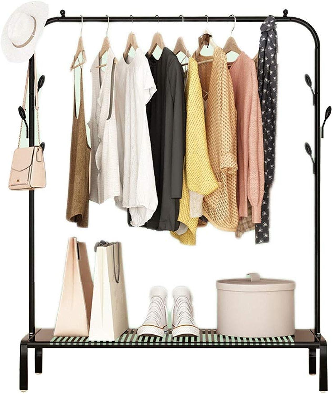 Simple Hanger Single Pole Floor Bedroom Shelf and Hook Iron Coat Rack (LxWxH) 125x45x152CM (color   Black)
