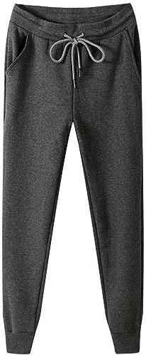 Dufjodi Pantalons de Coton pour Hommes d'occasionnels, Tirer sur l'élastique, Pur Cachemire décontracté Pantalon Stretch,gris foncé,5XL