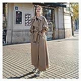 WZHZJ Coréen style oversize surdimensionné trench-manteau de femme de femme à double boutonnage de la dame de cordon de rond-à-vent (Color : Brown, Size : M)