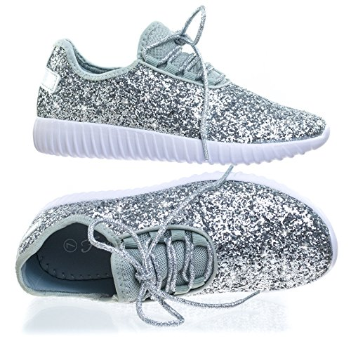 Forever Link Women's Remy-18 Glitter Fashion Sneakers,Silver-18,7