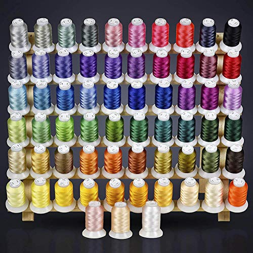 63 Colors Polyester Machine Embroidery Thread Kit - Compatible with Brother colors - Works with Brother, Babylock, Janome, Singer, Husqvarna Embroidery Machines - Includes Color Chart 550yards per cone