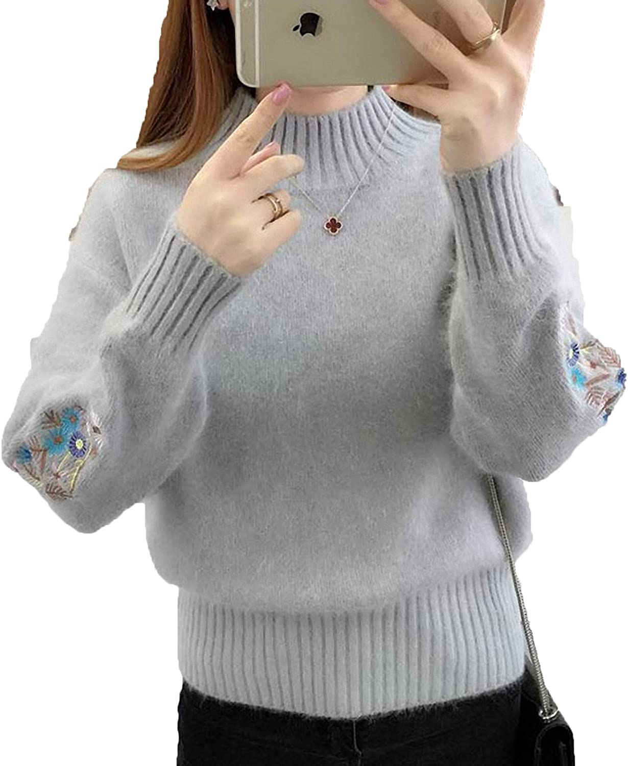 Barsly Women Knitted Sweater Floral Embroidery Thick Sweater Pullovers Autumn Winter Long Sleeve Turtleneck Sweaters