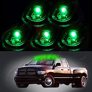 cciyu Cab Marker Light 5x T10-6-3020-SMD Green Top Clearance Roof Running Bulbs with 5x Smoke Cab Roof Light Base Replacement Cab Marker Assembly for 2012-2016 Dodge Ram 1500 2500 3500 4500 5500
