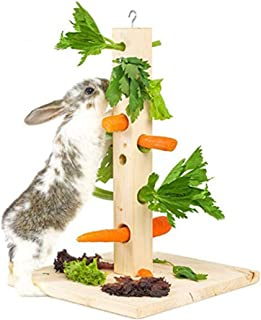 Legendog Hay Feeder Vertical Type Wood Hay Rack Hay Manger for Rabbit Hamster Chinchilla