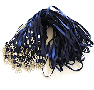 Lot de 100 tours de cou bleu avec attache à clip métallique - Cordon de cou pour porte badge carte d'identification (Bleu,...