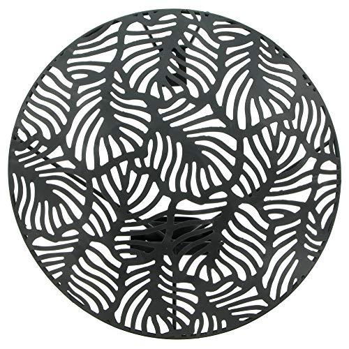 Applique murale, source de lumière exceptionnelle en métal noir avec de belles découpes en forme de feuilles, sans bougie