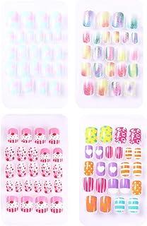 SOLUSTRE 4 Boxes Children Nails Press on Fake Nail Pre-glue Full Cover Gradient Color Rainbow Short False Nail Kits Great ...