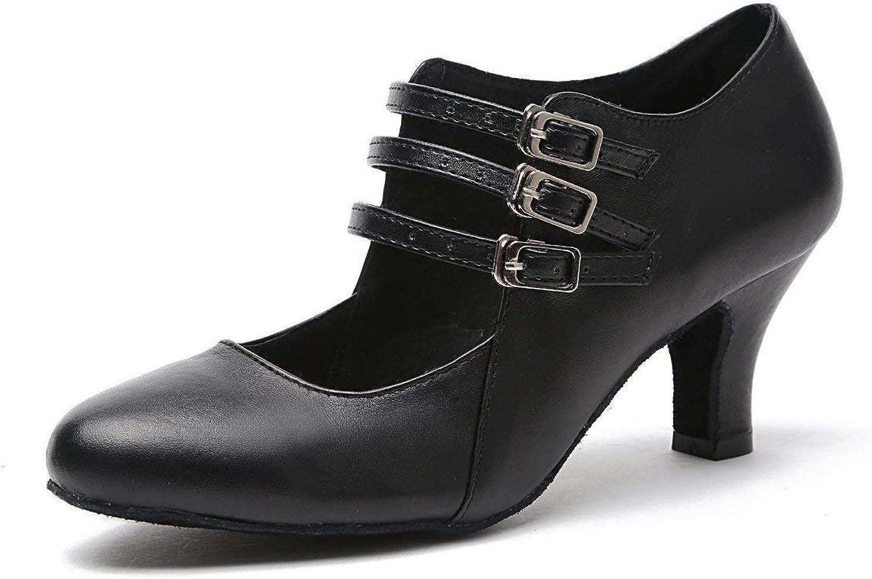 Oudan Women's Buckle Low Heel Synthetic Tango Latin Dance shoes Evening Pumps (color   Black6cm Heel, Size   7 UK)