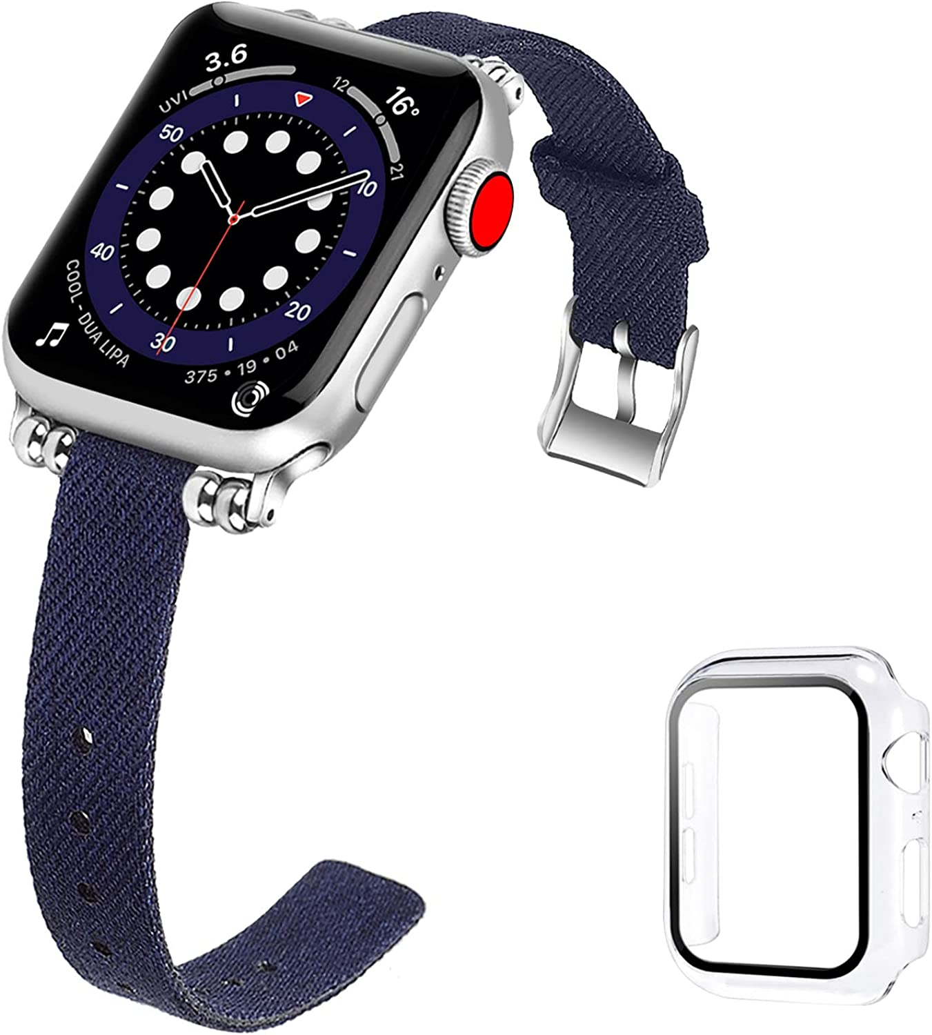 iDLEHANDS Compatible with Apple Watch Band 38mm 40mm 42mm 44mm, Slim Fabric Canvas Replacement Strap Compatible for iWatch Series 6/5/4/3/2/1/SE