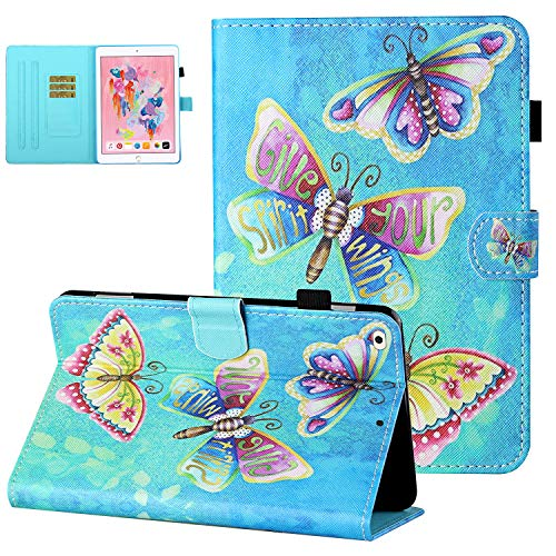 UGOcase for iPad Air 2 Case with Pen Holder, iPad Air 1 Case,iPad 6th/5th Gen 9.7' 2018/2017 Cover,PU Leather Shockproof Auto Sleep Wake Card Slots Kickstand Case for iPad 9.7 2018,Gorgeous Butterfly