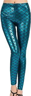 SERWOO Damen Leggings Mermaid Meerjungfrau Glanz Leggings Fisch Schuppen Scale Glänzend Strumpfhose Hüfthose Hose Skinny Pants für Karneval Kostüm