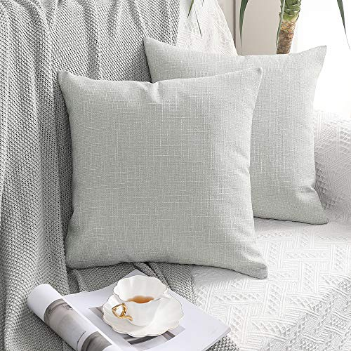MIULEE Set of 2 Cross Shape Faux Linen Square Throw Pillow Case Cushion Cover Home for Sofa Chair Couch/Bedroom Decorative Pillowcase 24 x 24 Inch 60 x 60cm Offwhite
