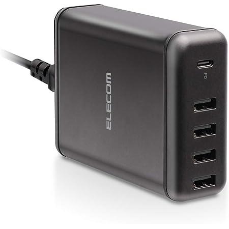 エレコム USB コンセント PD 充電器 合計60W Type-Cポート×1 Aポート×4 【 iPhone / Android / タブレット 対応 】 ブラック EC-ACD02BK