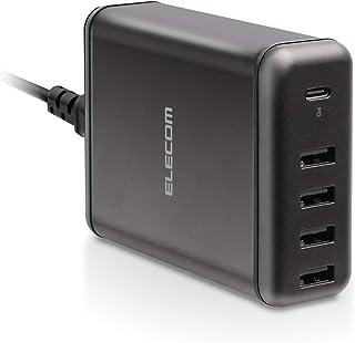 エレコム USB コンセント USB PD 充電器 合計60W Type-Cポート×1 Aポート×4 【 iPhone / Android / タブレット 対応 】 ブラック EC-ACD02BK