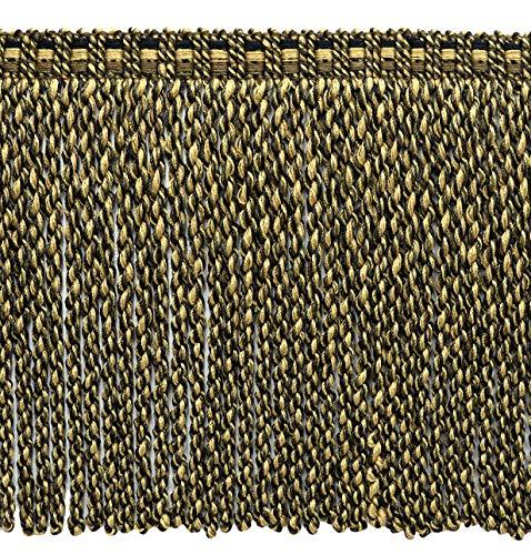 DecoPro Contemporain, Modern|DK Marron, Marron, LT Brown|76 mm décoratifs Lingot Fringe|Sold au mètre (91 cm) |Style # : Bfv6|Color : Vnt20 – Mesquite