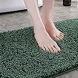 shshuiyue Alfombra de Baño Antideslizante Tacto Suave Microfibra Chenille Súper Suave Absorbente Tapete del Piso (40x60 cm, Verde)