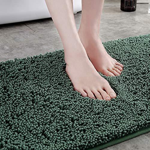 shshuiyue Badematte rutschfest, Hochflor Premium Qualität Mikrofaser Chenille Badezimmerteppich, Super Saugfähiger Duschteppiche 40X60 cm, Grün