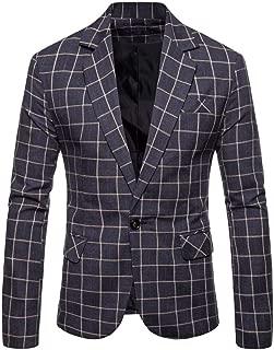 Blazer Mens Casual Plaid Business Wedding Suit Lapel Slim Fit Outwear Blazer Coat Long Coat
