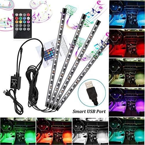 LED Atmosphäre Licht Auto Innenraumbeleuchtung RGB Auto Fußraumbeleuchtung 72LEDs Auto Streifen Licht Steuerbare mehrfarbig Musik Innenbeleuchtung mit USB-Port und Fernbedienung (72Leds)