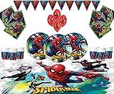 Forniture Marvel Spiderman Bambini Festa di Compleanno tavola Spiderman Decorazioni per 16- Spiderman Squadra Piastre Lattice Balloons & Banners