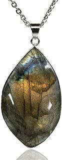 Amandastone Gemstone Natural Labradorite Charm Pendant Necklace 20