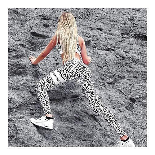 HNZZ Sporthose Damen yogahose Frauen Fitness Anzüge Tank Top Pflanzenbau und Legging 2 Stück Set-Sommer-Damen Sexy Workout Leopard Printed Anzug (Size : L)