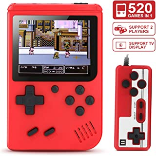 Aibrisk Handheld Game Console, 520 Classical Games Retro Video Game Console with 3inch Screen 800mAh Rechargeable Battery TV Display Two Players Birthday Gift for Kids Adult (Red)