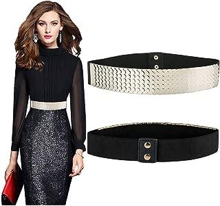 VITORIA'S GIFT Women Waist Belt,Metal Mirror Face Belts Wide Self Tie Wrap Around Waist Thin Waistband