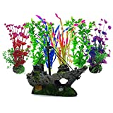 Aisamco Piante Artificiali Acquario Ornamenti Kit 6 pz Grande Pianta Artificiale Accessori...