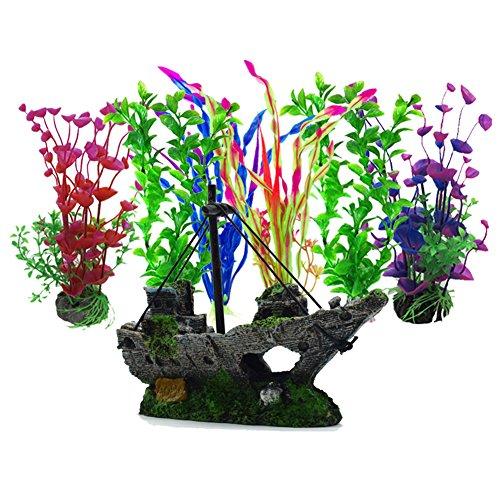 Aisamco künstliche Wasserpflanzen, 6 Stück Aquarium Pflanzen, 1 Stück künstliche Aquarium Dekoration Harz Kunststoff Ornament, Aquarium künstliche Kunststoffpflanzen Dekoration Aquarium Landschaft