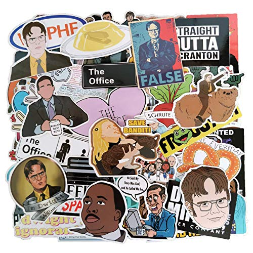 The Office Funny Word Dunder Mifflin Sticker Pack(62-pcs), No Repeat Stickers for Laptop Ipad Water Bottle Phone MacBook Luggage Guitar with Waterproof PVC
